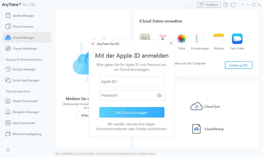 Apple-ID und Passwort eingeben