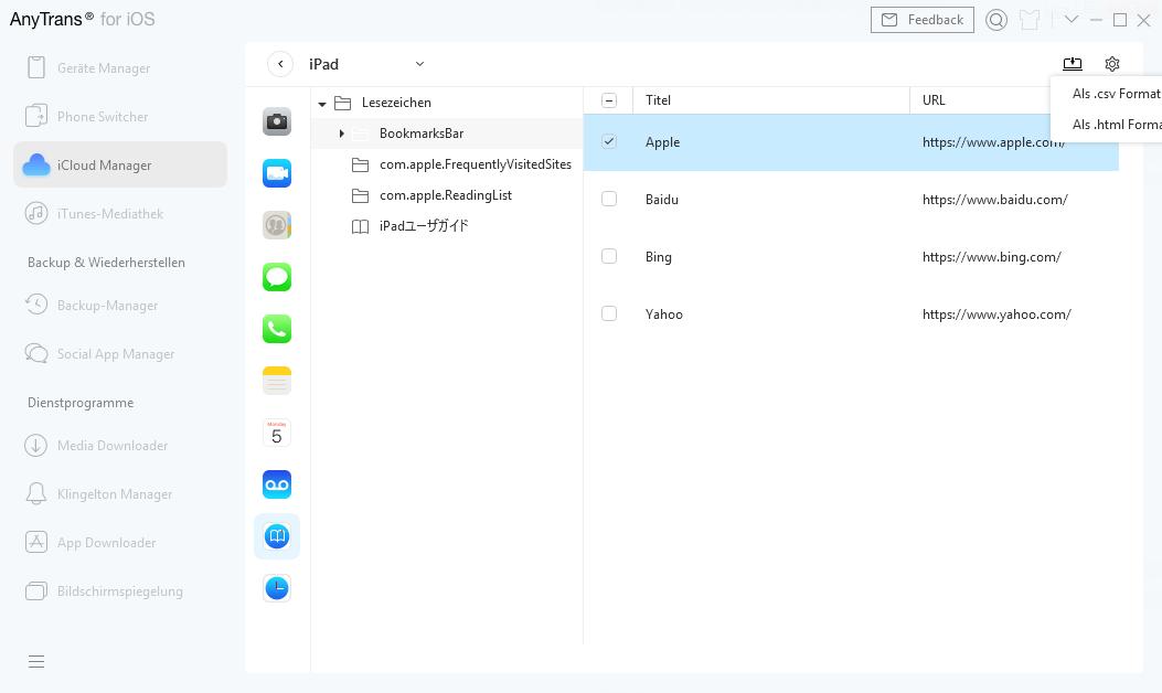 iCloud Backup übertragen