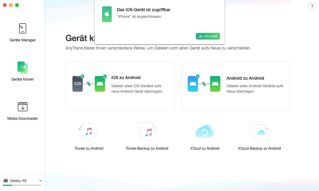 iOS auf Android – iOS-Gerät wird erkannt