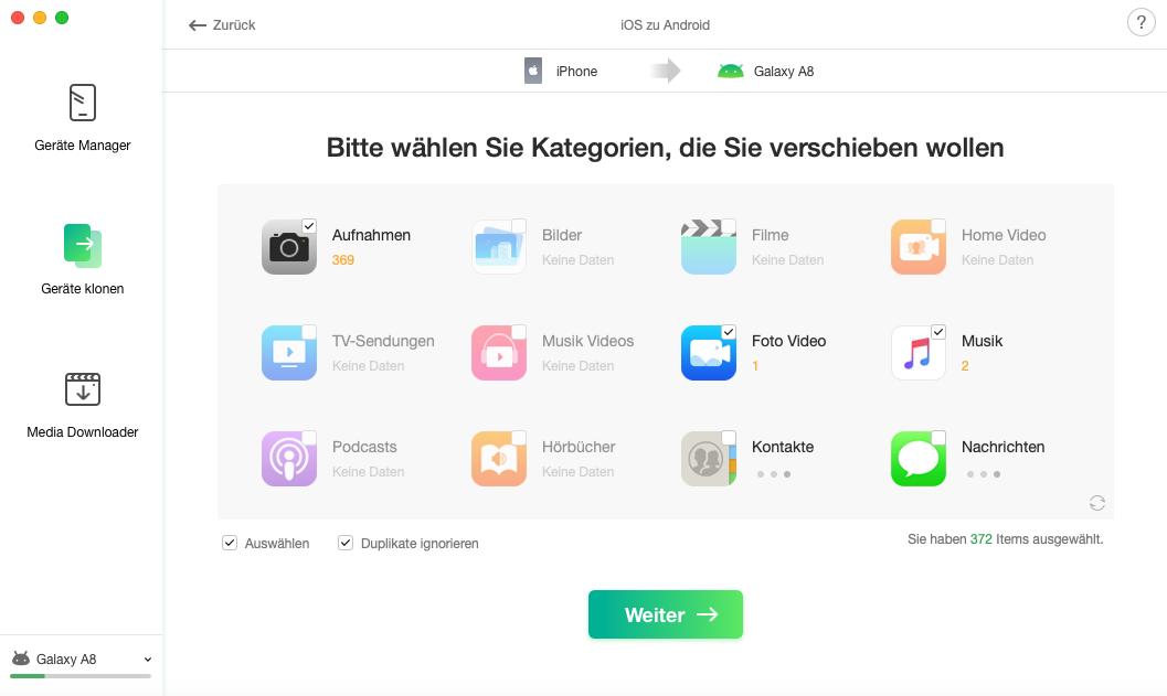 iOS auf Android – Daten auswählen