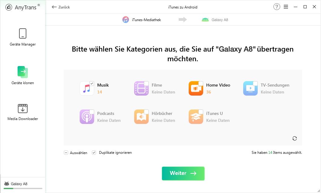 iTunes Mediathek Inhalte auf AnyTrans für Android
