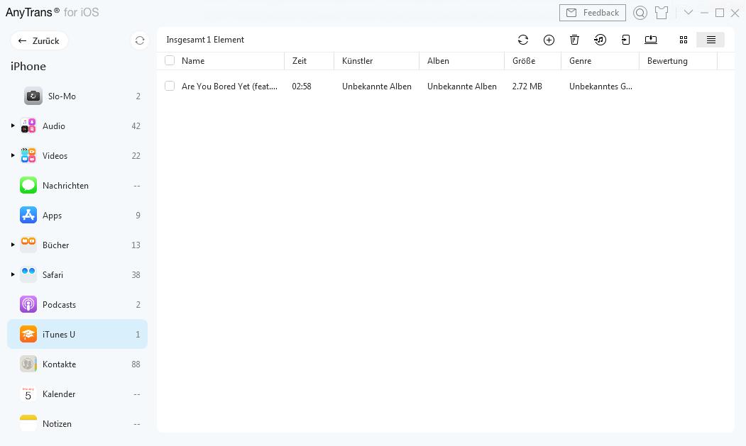 iTunes U-Fenster auf AnyTrans
