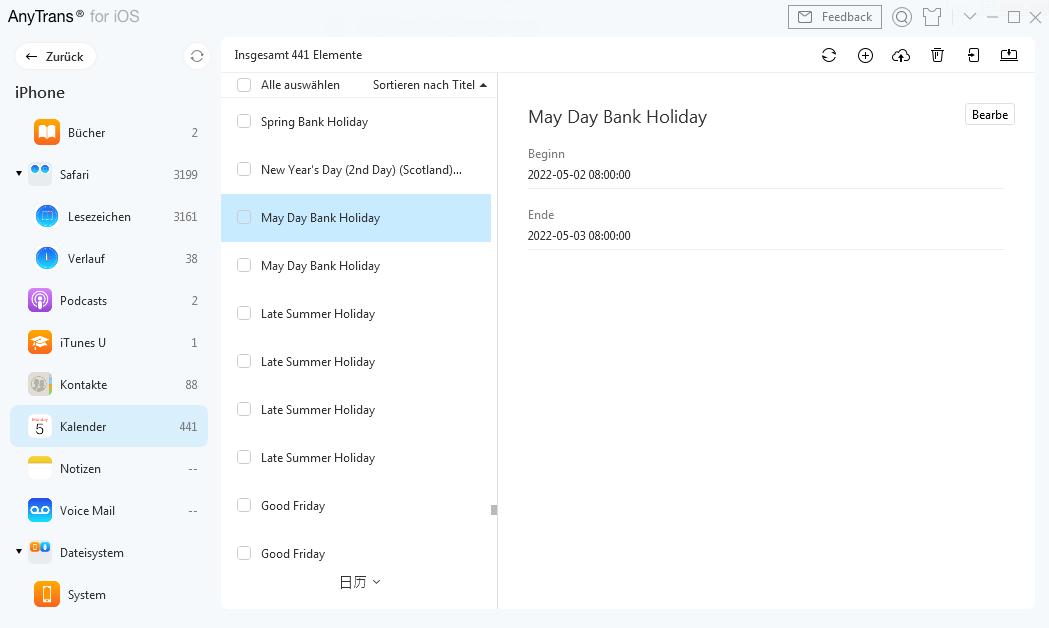 Kalender-Fenster auf AnyTrans