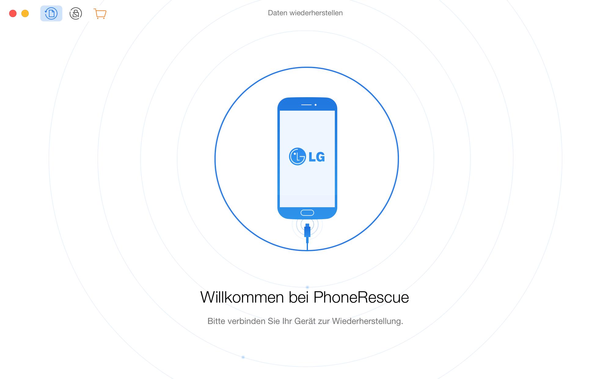 Startfenster von PhoneRescue für LG