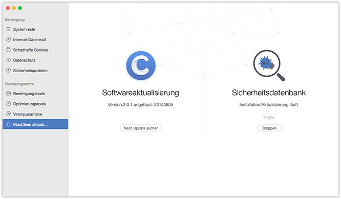 Sicherheitsdatenbank und Software Update