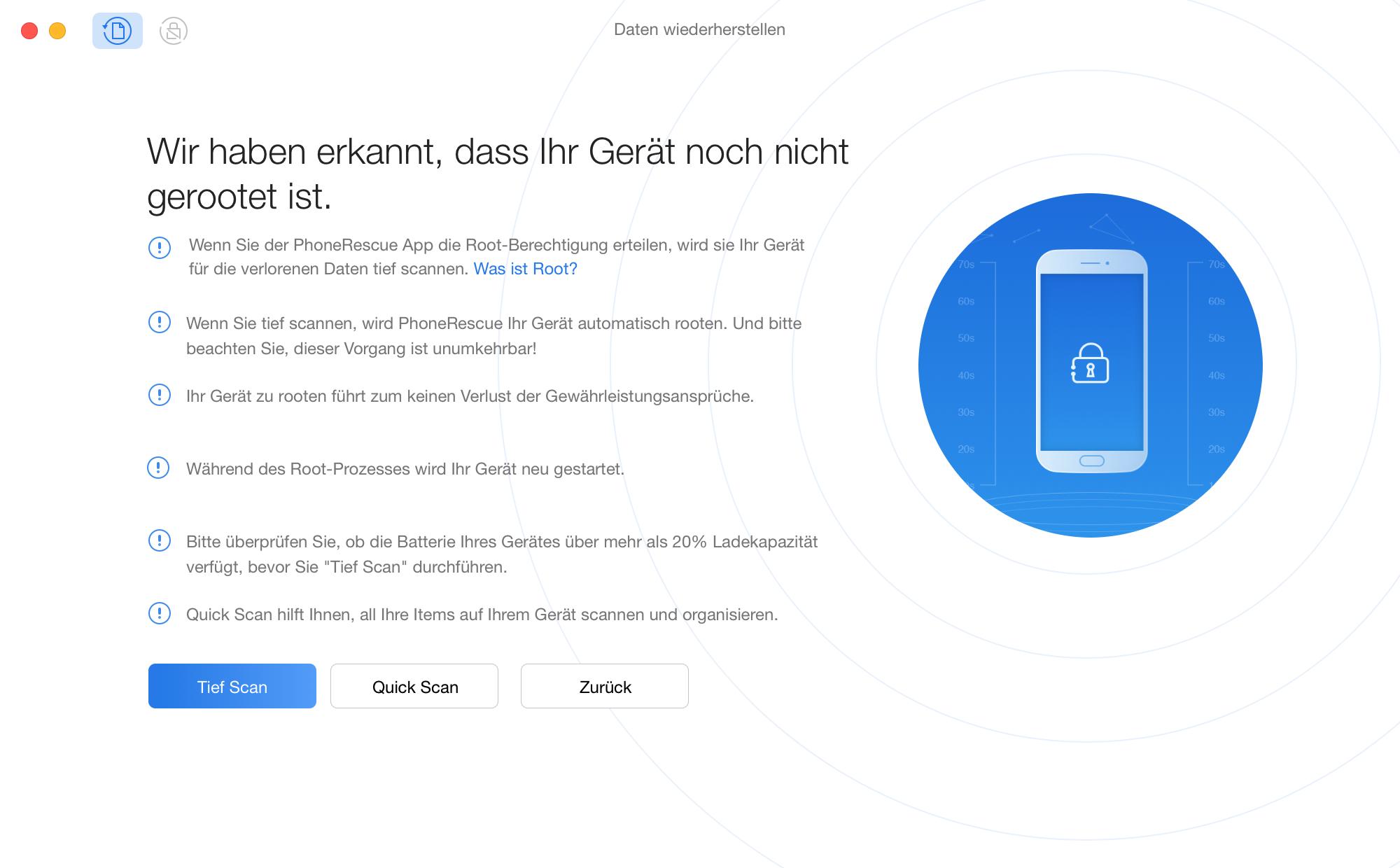 """Auf den Button """"Tief Scan"""" klicken"""