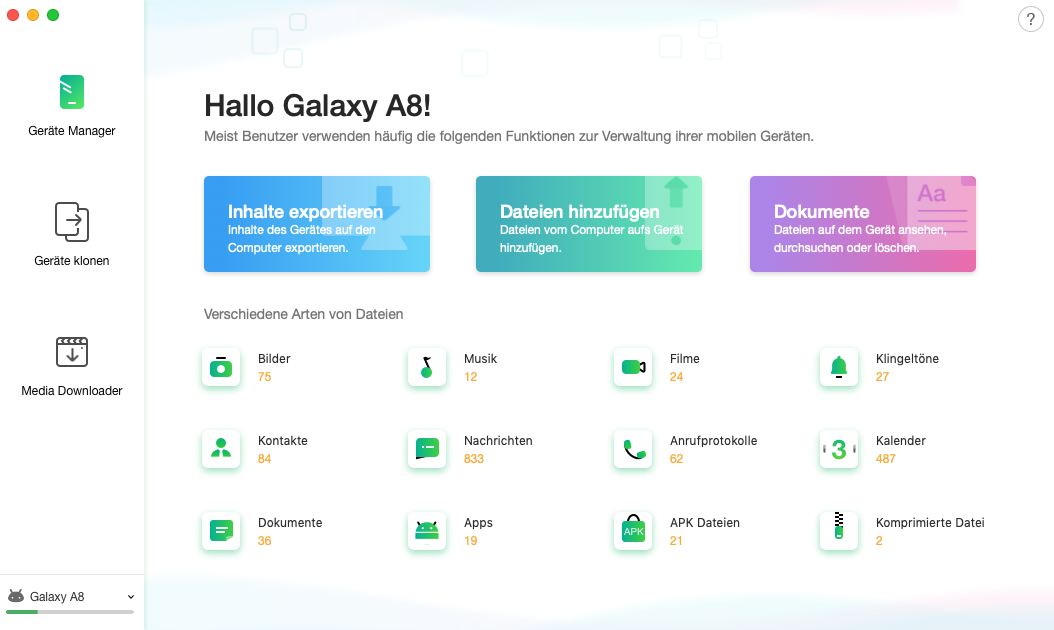 Hauptfenster von AnyTrans für Android