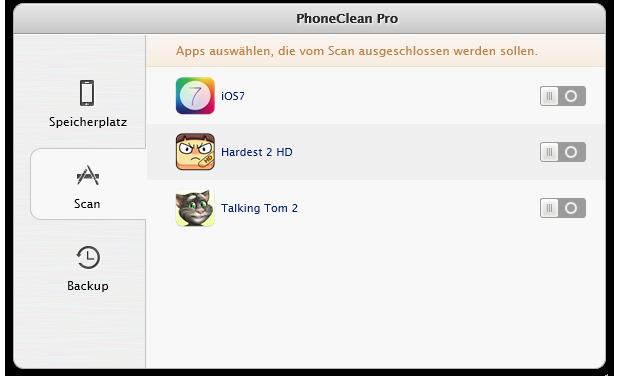 Reinigung bestimmter Apps verhindern 1