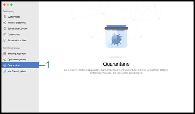 Die Funktion Quarantäne wählen