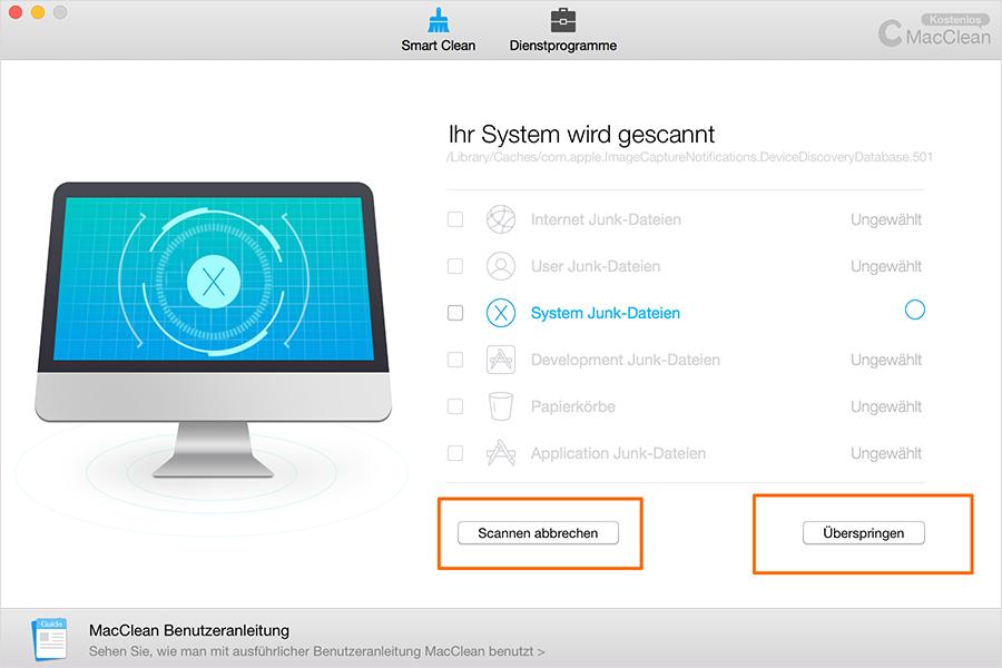 System Junk-Dateien scannen – Schritt 1