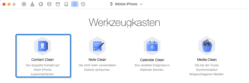Contact Clean auswählen