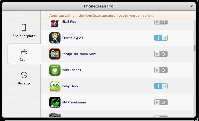 Reinigung bestimmter Apps verhindern 2