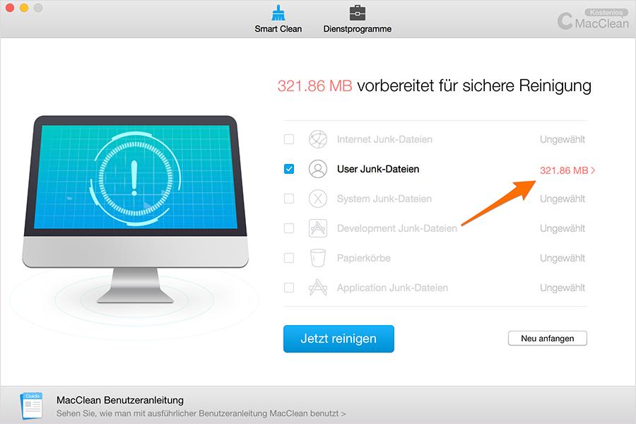 User Junk-Dateien entfernen – Schritt 2