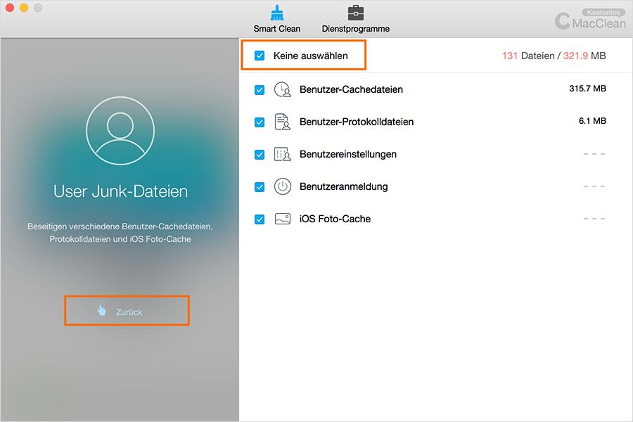 Die bestimmte Dateien deaktivieren – Schritt 2