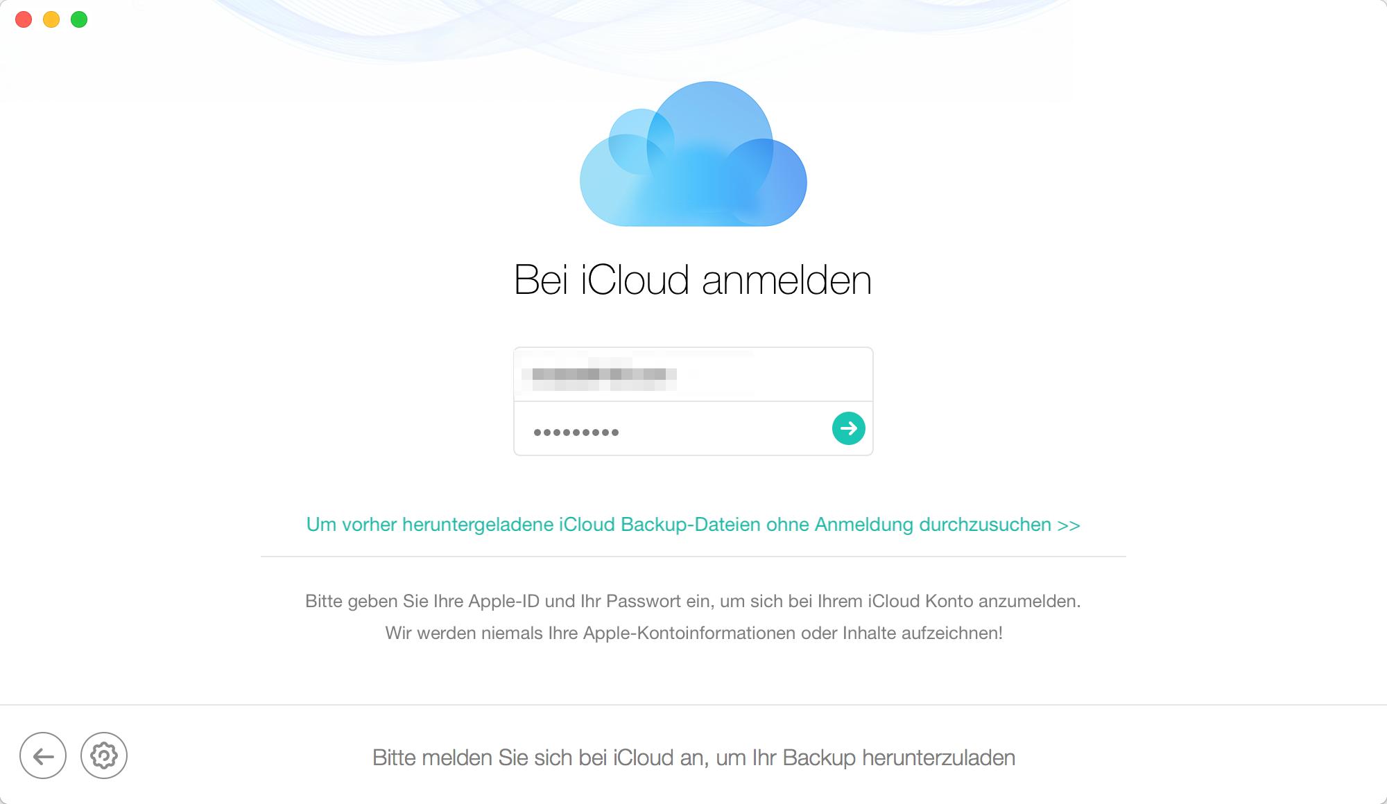 Loggen in iCloud