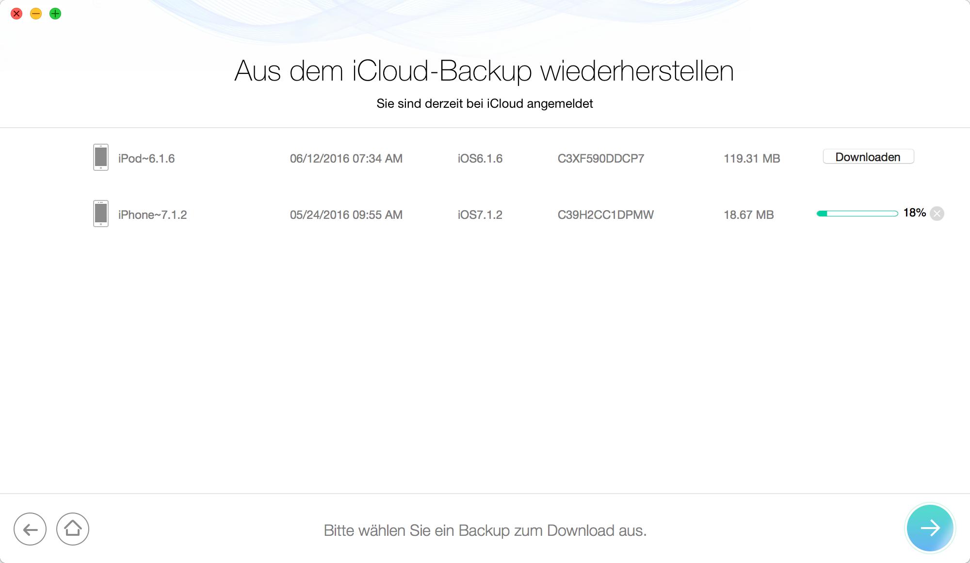 iCloud-Backup downloaden