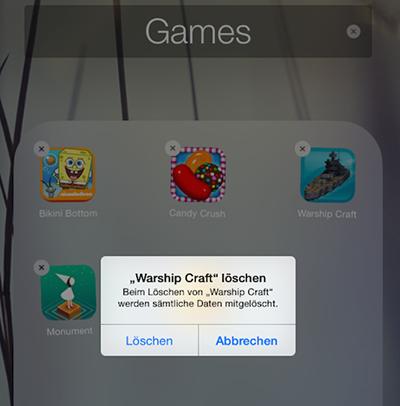 Entfernen unnötige Apps vom iPhone