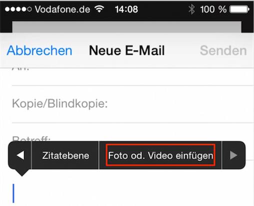 Anhang zur Email auf dem iPhone hinzufügen