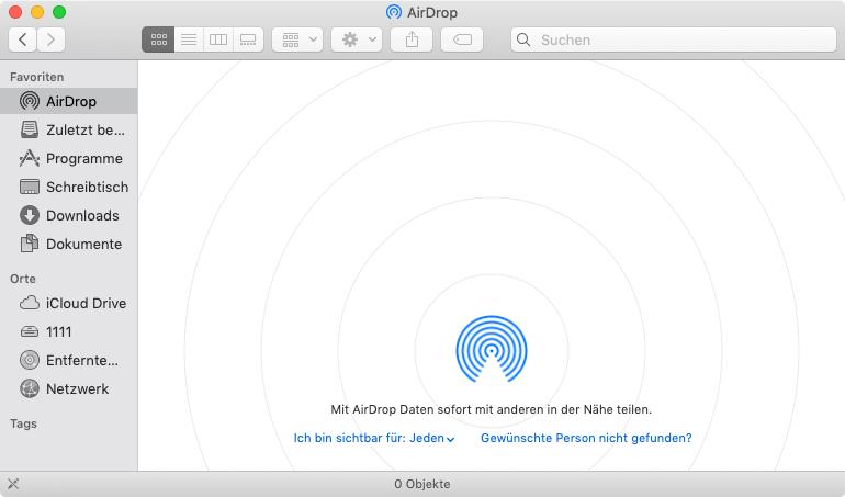 AirDrop am Mac öffnen