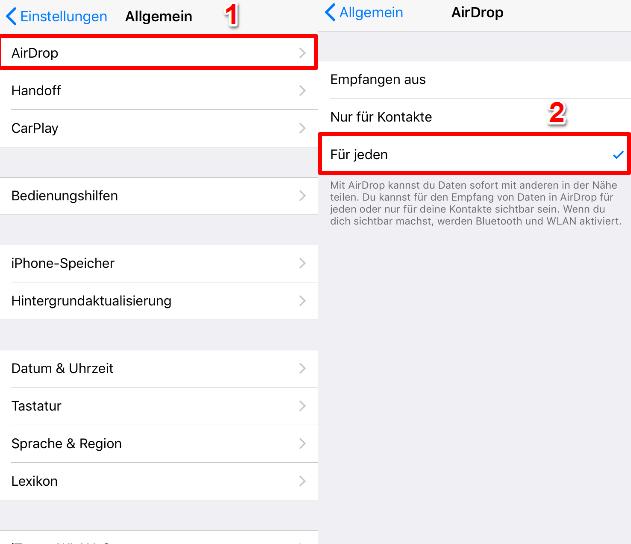 AirDrop findet iPhone nicht – Erkennbarkeit überprüfen