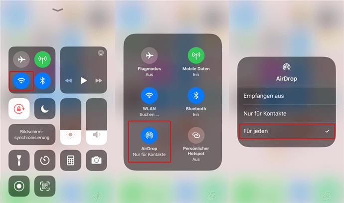 AirDrop in iPad oder iPhone einstellen