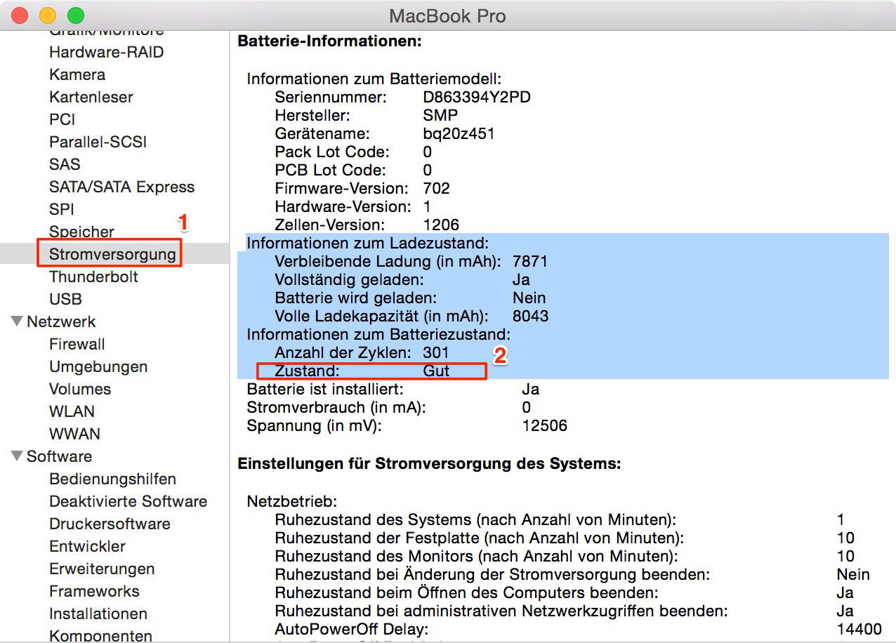MacBook Akkulaufzeit verlängern - Akku- Zustand überprüfen
