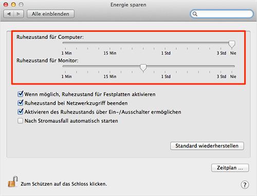 "MacBook Akku sparen - ""Energie Sparen"