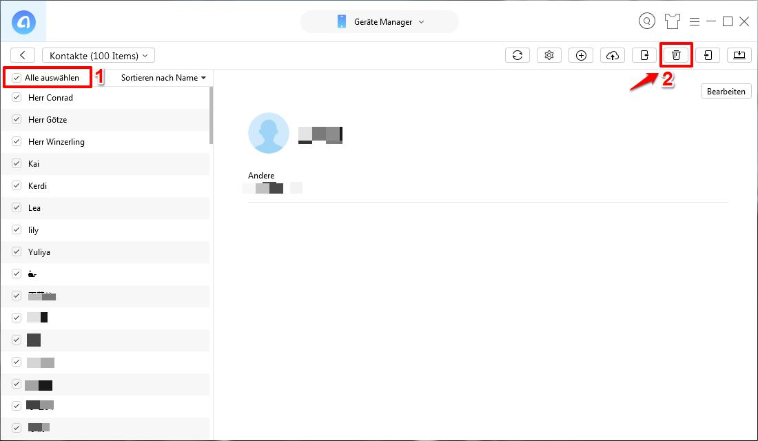 Alle Kontakte vom iPhone 7(Plus) auf einmal löschen – Schritt 3