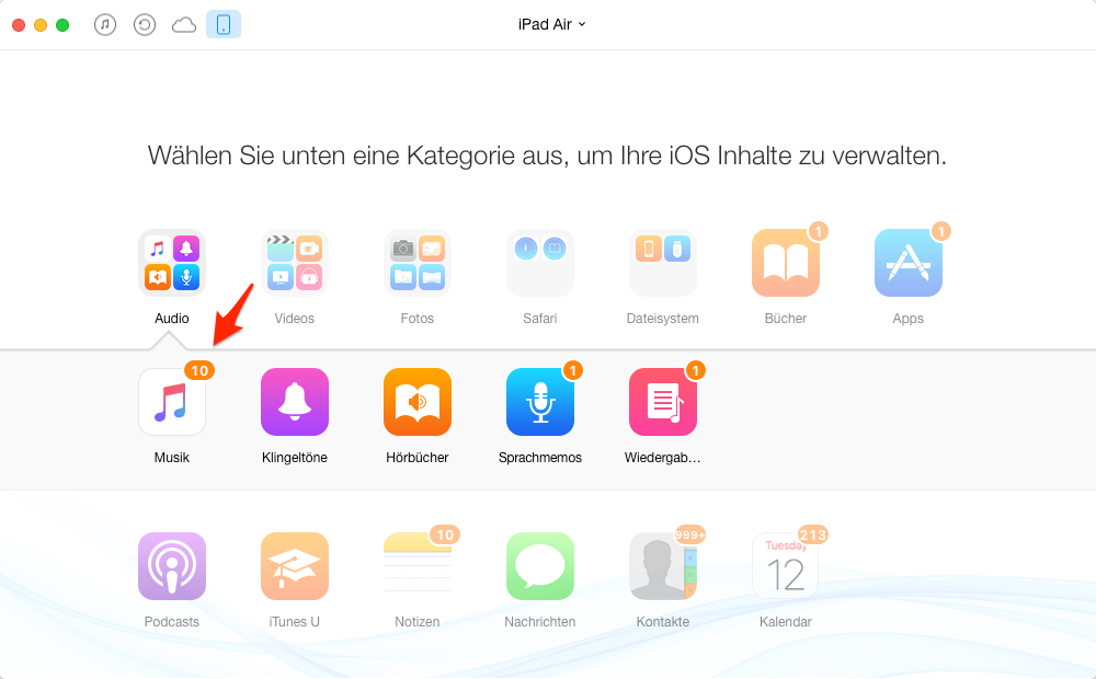 iPad alle Musik löschen – Schritt 2