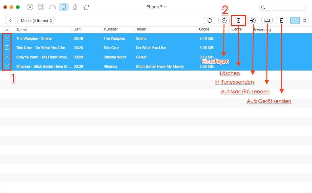 Komplett! iPhone alle Musik löschen – Schritt 4