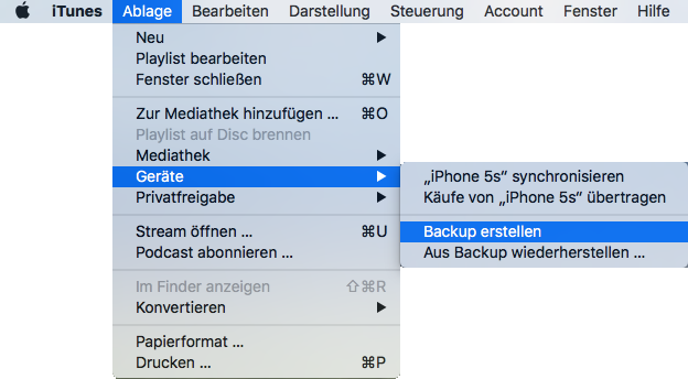 altes iPhone über iTunes sichern