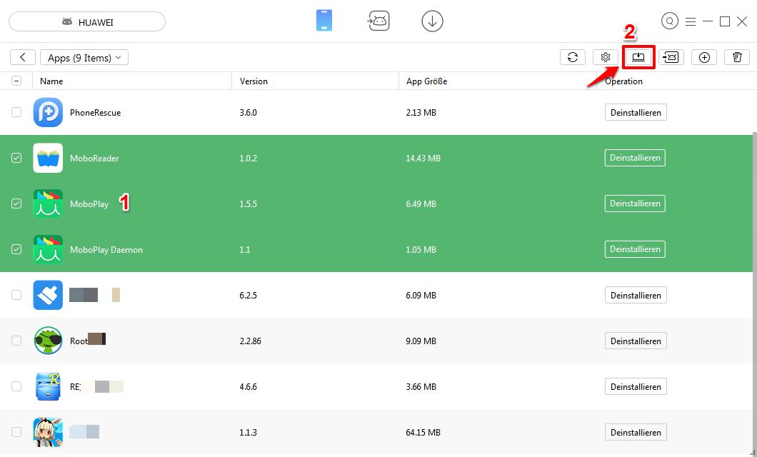 Android Apps auf PC selektiv übertragen – Schritt 2