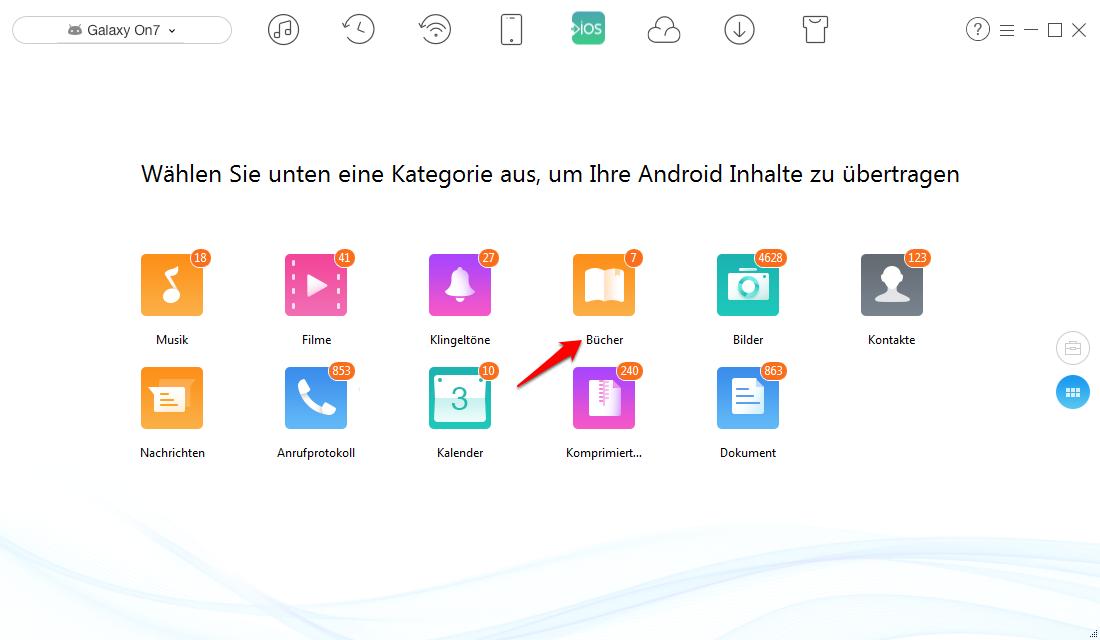 Android Buch auf iPhone übertragen – Schritt 2