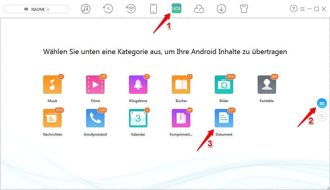 Android Dokumente auf iPhone – Schritt 2