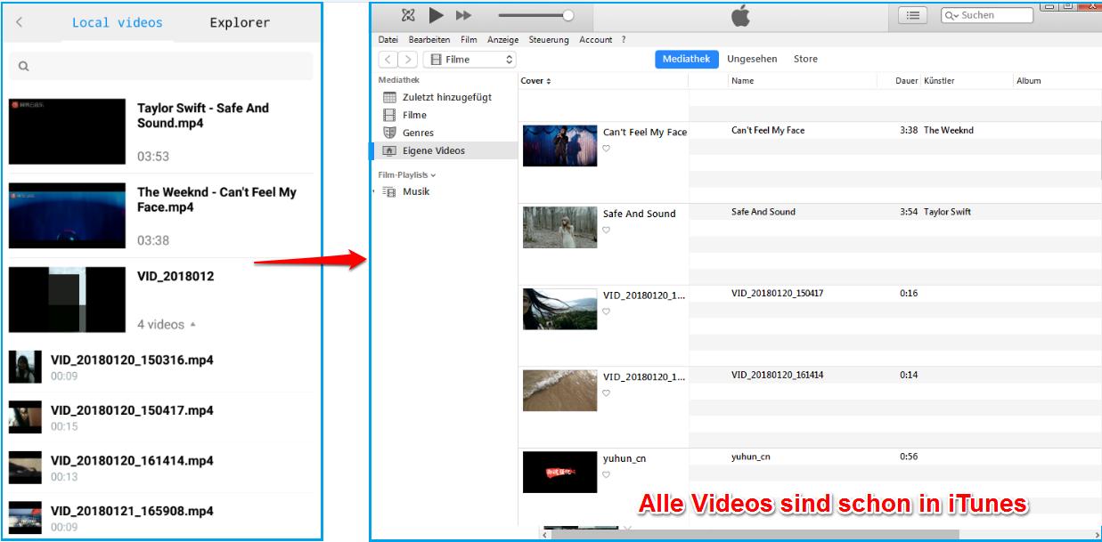 Android Filme zu iTunes importieren