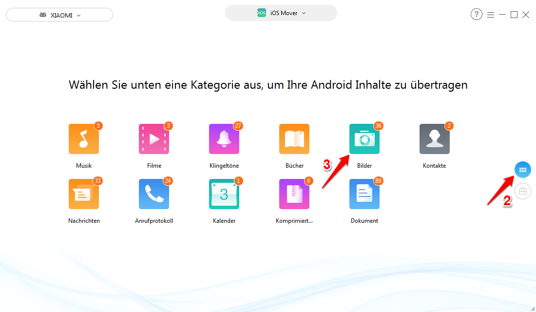 Android Fotos auf iCloud übertragen – Schritt 5