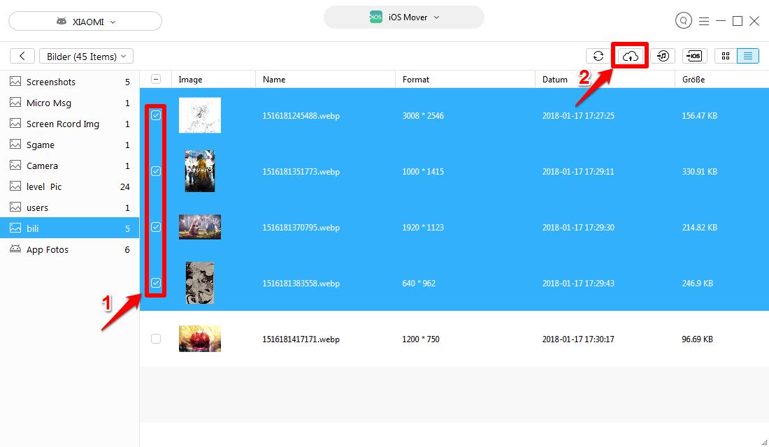 Android Fotos auf iCloud übertragen – Schritt 6