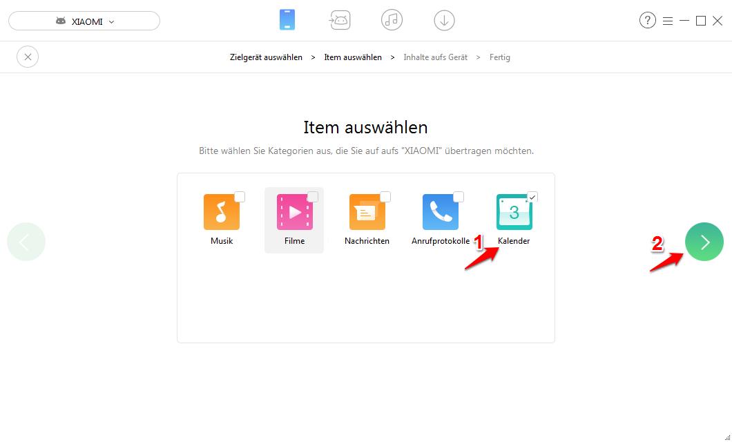 Alle Android Kalender auf neues Handy mit AnyTrans übertragen – Schritt 2