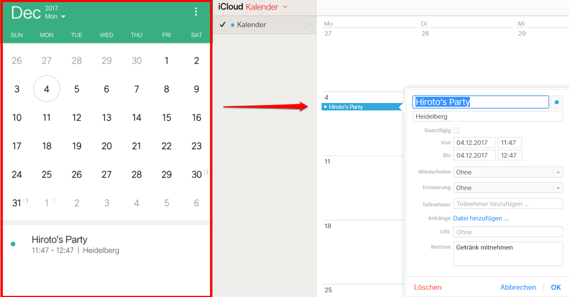 Einfach Android iCloud Kalender sync