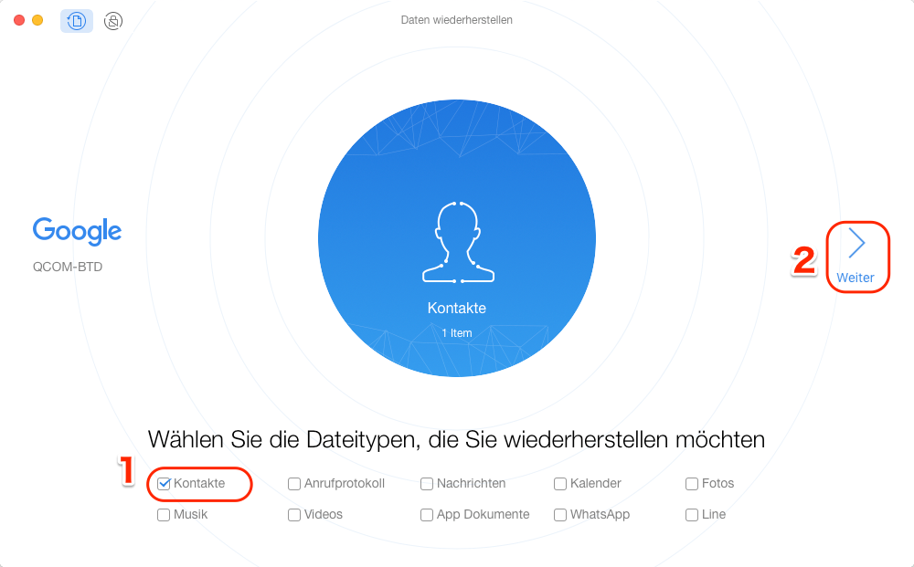 Android Kontakte weg - Schritt 1