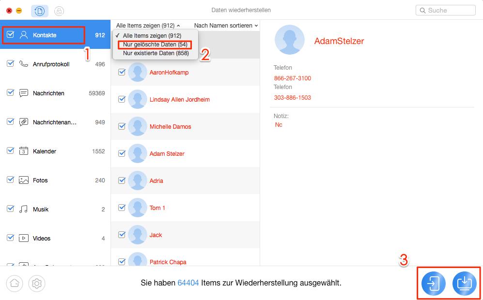 Kontakte weg Android - Schritt 2