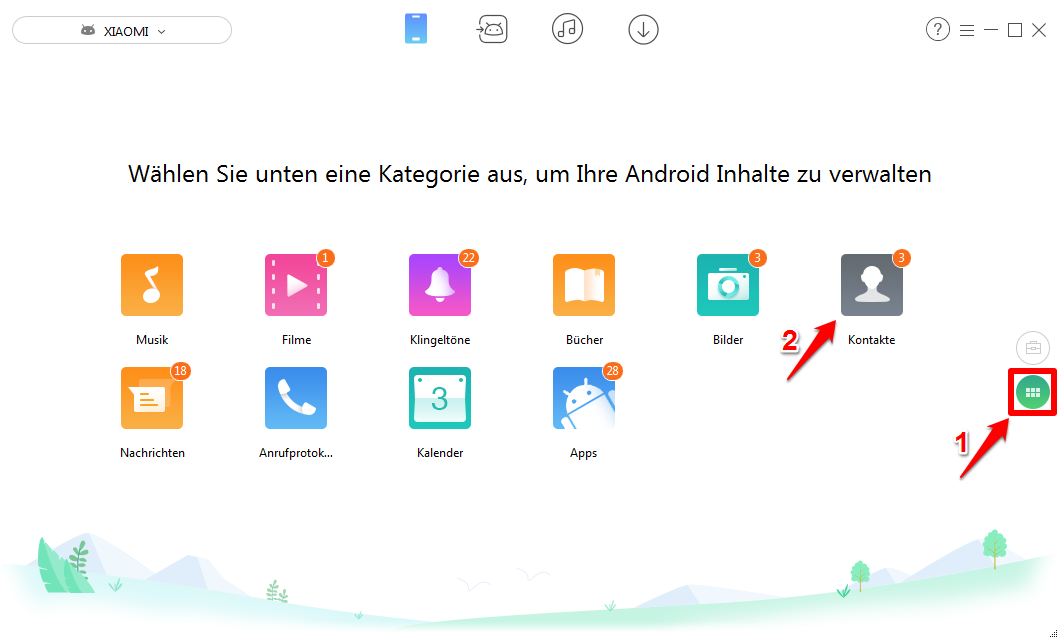 Android Kontakte verwalten - Schritt 2