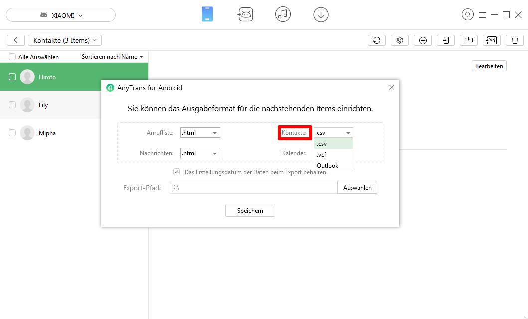 Android Kontakte am PC bearbeiten