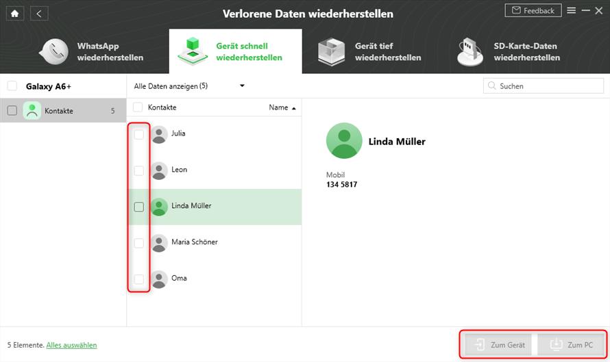 Android Kontakte weg wiederherstellen DroidKit