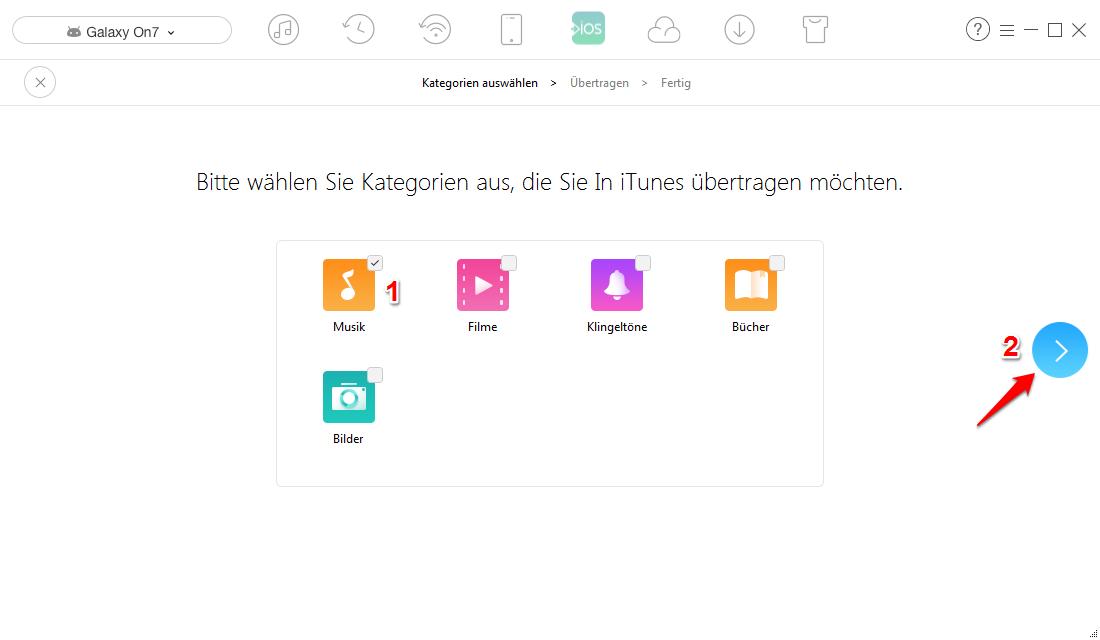 Musik von Android auf iTunes – Schritt 2