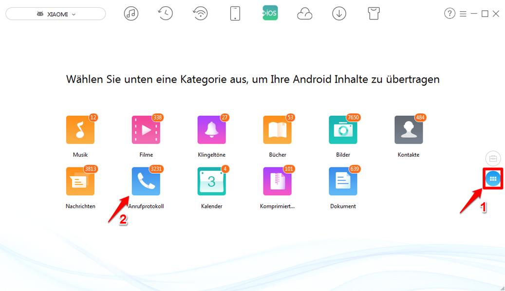 Anrufliste von Android auf übertragen - Schritt 2