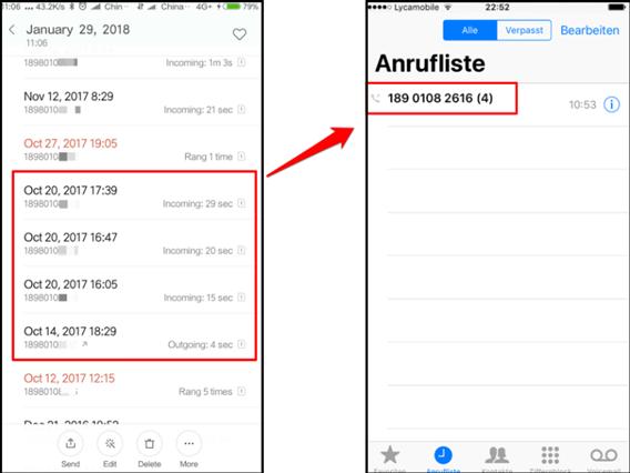 Anrufliste von Android auf iPhone Direkt transportieren