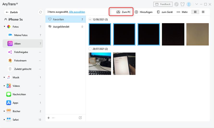 AnyTrans Fotos auf Computer übertragen
