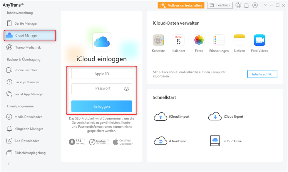 anytrans-icloud-manager-icloud-einloggen