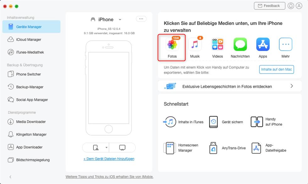 AnyTrans starten um Fotos vom iPhone auf Mac zu übertragen